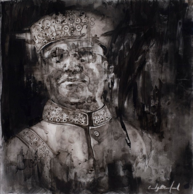 Cindy Bernhard, Farrakhan, charcoal on mylar, 10 x 10, 2012